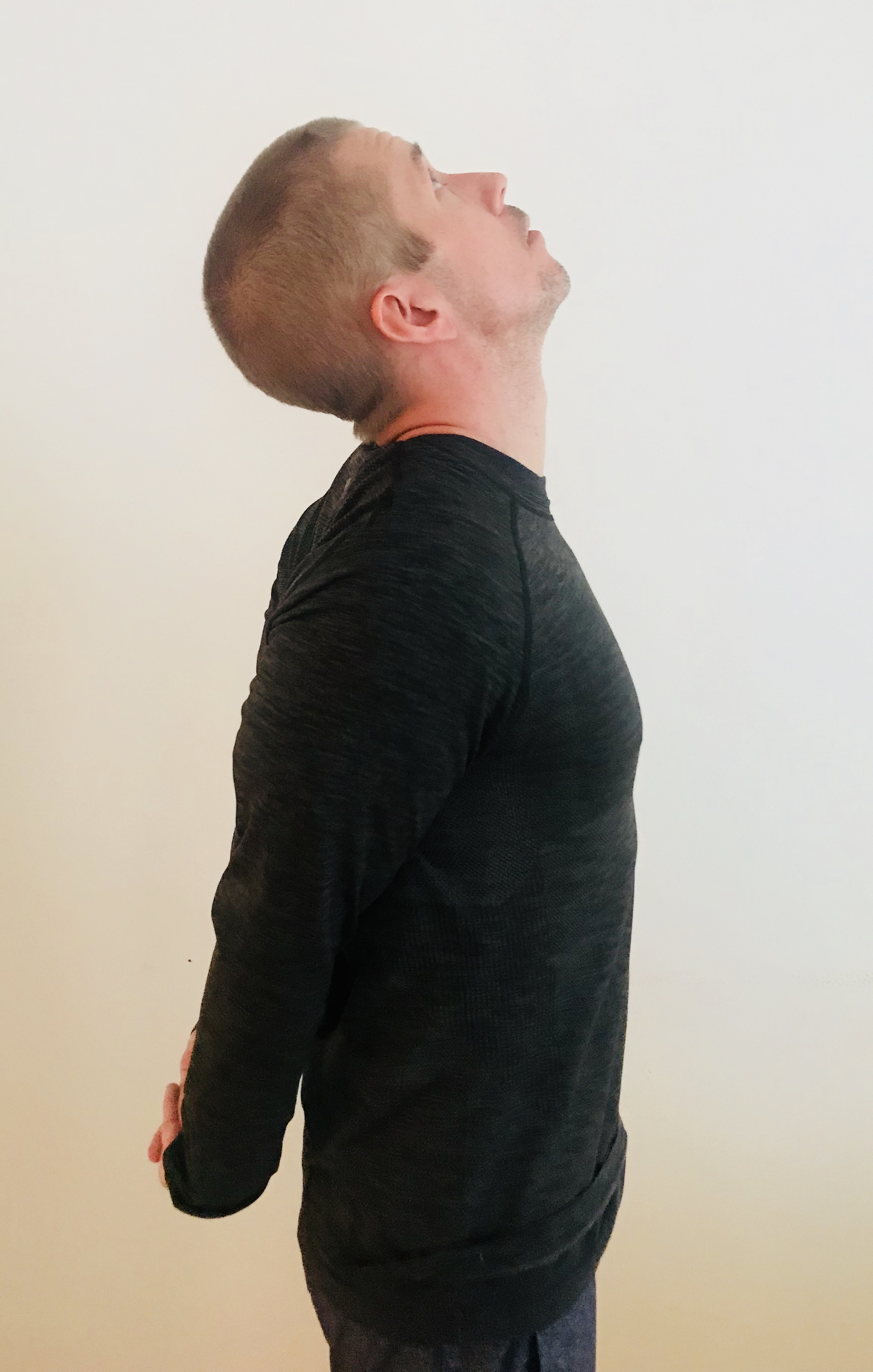 The lookup stretch is perfect for relieving the tension in your neck to help your headaches.