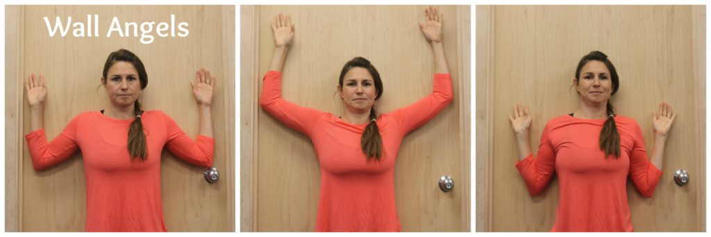 Wall angels are a great exercise for good posture